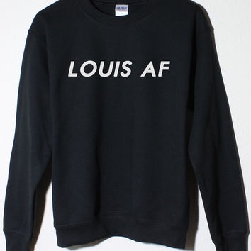 Louis Tomlinson One Direction Fan LOUIS AF 1D Black Fleece Sweatshirt