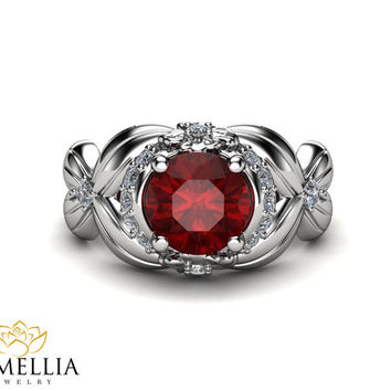 14K White Gold Ruby Ring,Unique Engagement ring,Flower Ring,Floral Rings,Fashion Rings,Gemstone Engagment Ring,Nature Inspired,Art Deco Ring