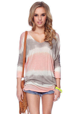 Tie Dye Tunic in Pink and Grey :: tobi