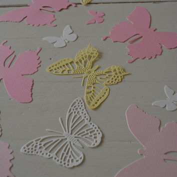 3D Butterflies made of textured card stock in Ivory, Soft yellow and Pink shades--Let them fly around in your nursery or dress up your party