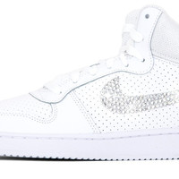 Nike Court Borough High - Hand Customized Crystallized Swarovski Swoosh - White