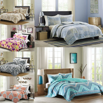 Bibb Home 3 Piece Printed Reversible Quilt Coverlet Set - 10 Designs