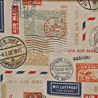 Travel fabric postage stamp mail from Brick House Fabric: Novelty Fabric