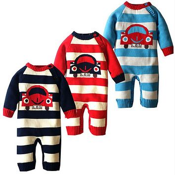 Newborn Winter Cartoon Car Baby Rompers Infant Soft Cotton Thick Baby Boy Girl Jumpsuit Long Sleeve Fleece Costume