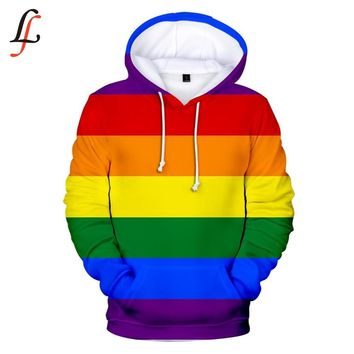 Rainbow Stripes Women Streetwear LGBT Hoodie
