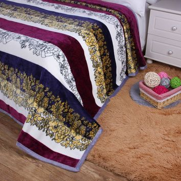 DaDa Bedding Bohemian Floral Striped Carnations Cozy Plush Flannel Fleece Throw Blanket (XY9829)