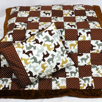 Handmade Baby Quilt Blanket Patchwork and flat Pillow bedding set for infant Minky Brown roe polka dot Stroller Buggy blanket gender neutral