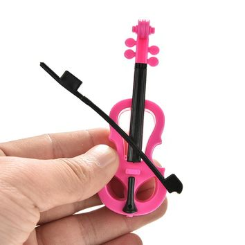 1Pcs Kid's Play House Plastic Musical Instrument Toy Violin For Barbies Dolls Accessories for Girls Best Birthday Gifts
