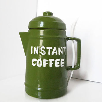Vintage Instant Coffee Jar, Retro Green Kitchen Storage, Stash Box, Secret Storage
