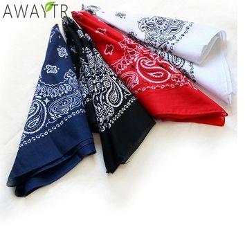 Vintage Cotton Square Scarf Print Headbands 55*55 CM Wristband Unisex Blend Hip-Hop Classic Bandanas Men Women Hair Accessories