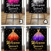 Glitter watercolor gown | Digital sign | Birthday sign | Custom sign | Customizable | Welcome sign |  Poster