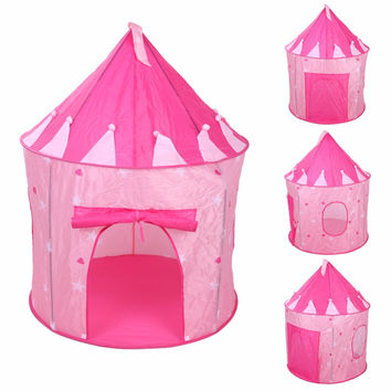 Pop Up Play Tent Kids Girl Princess Castle Outdoor House Tent Portable Pink Children Gifts