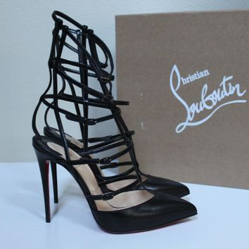 New sz 7.5 / 38 Christian Louboutin Kadreyana Black Leather Cage Sandal Shoes