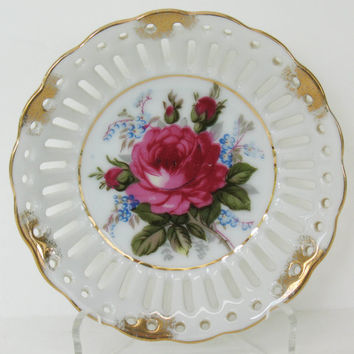Royal Sealy China, Rose Dish, Candy Dish, Made in Japan, Gold Trim, Vintage