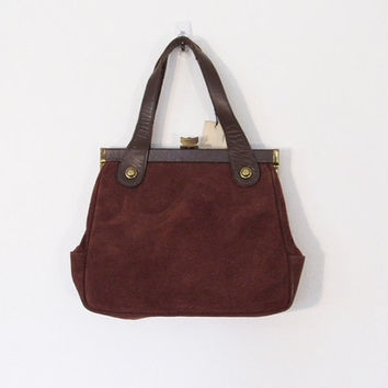 Vintage 1960s Brown Suede Handbag / Leather Purse w/ Tags / New Old Stock