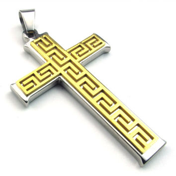 Stainless Steel Gold Cross Pendant