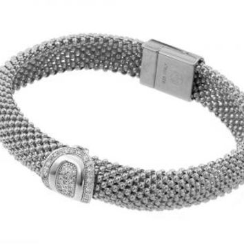 Sterling Silver Rhodium Plated Oval Micro Pave Clear Cubic Zirconia Beaded Italian Bracelet