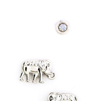 Ornate Elephant and Round Stud Earring Set - Silver or Gold