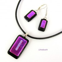 Fuchsia Pink and Black Fused Dichroic Glass Jewelry Set Pendant and Earrings