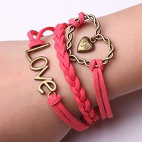 Rope Bracelet Pink Love with Fashion Heart