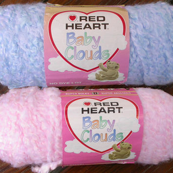 Yarn, Red Heart Baby Clouds Bulky Boucle, Textured Novelty Yarn, Soft Pastel Choose Blue or Pink Knit, Crochet
