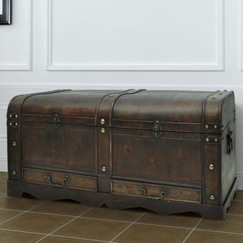 Vintage Large Wooden Treasure Chest Brown Coffee Table