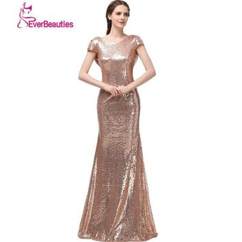 Champagne Long vestido longo Sequined Short Sleeve Floor Length Bridesmaid Dress 2016 Prom Dress Wedding Party Dress