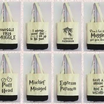 Harry Potter quotes slogan tote bag 3 color shopping tote bag Canvas tote bag