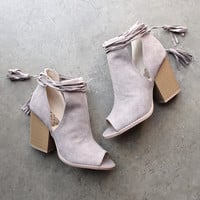 Madelynn suede open toe bootie
