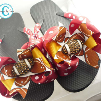 9c8ed64f55315c Football Flip Flops with Bling Rhinestone Bows on Flats or Wedges. Choose  Any Colors .