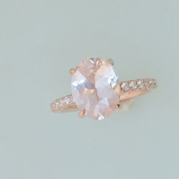 Champagne Pink Peach Sapphire Engagement Ring Over 3cts in14k Rose Gold Diamond Accented Mount Blake Lively Engagement Ring