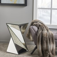 Amler Geometrical Mirrored Side Table