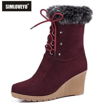 Women Half Knee High Boots Warm Fashion High Heels Wedges Spring Autumn Shoes Rabbit Fur Uppers Platform Lace Up Winter Boots