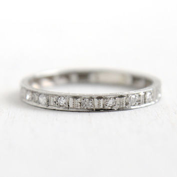 Antique 14k White Gold Diamond Wedding Band Ring- Size 6 1/2 Art Deco 1920s Floral Etched Wedding Engagement Fine Jewelry