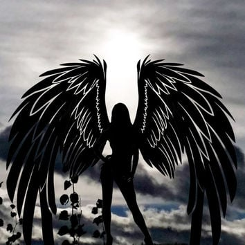 Angel silhouette sunset photography art digital download graphics printable images original photograph