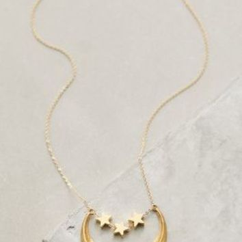 Waxing Moon Necklace by Anthropologie in Gold Size: One Size Necklaces