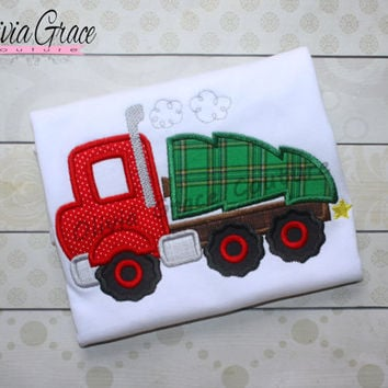 Boys Christmas Shirt, Big Rig With Tree, Boys Chrstmas Truck, Christmas Tree Shirt, Embroidered Applique Shirt or Bodysuit, Christmas outfit