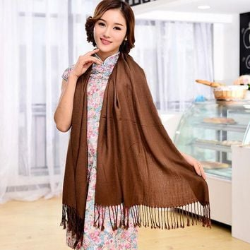 PEAPHY3 12 Color 2016 Autumn Hot Selling Women Pashmina Shawl Fringed bufandas Solid Warm Knitted Blanket Scarf Winter 180*75cm sf084