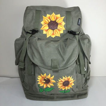 Sunflower Everest Olive Green Large Canvas Backpack Hand Painted