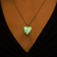 Green Glow Necklace - Glow in the dark Necklace - Glowing Heart Locket - Green Necklace - Halloween Necklace - Silver Necklace