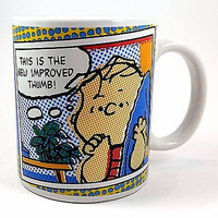 Snoopy Coffee Mug Cup 10oz Pop Art Linus New Improved Thumb Peanuts Gibson k411