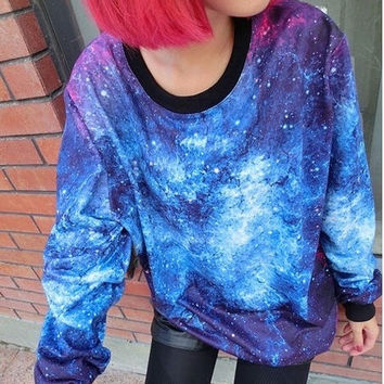 Fashion Casual Galaxy Print Satr Round Neck Sweater Sweatshirt = 1919941444