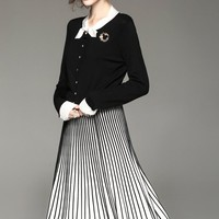 Sweater and Pleated Skirt Two Piece Set