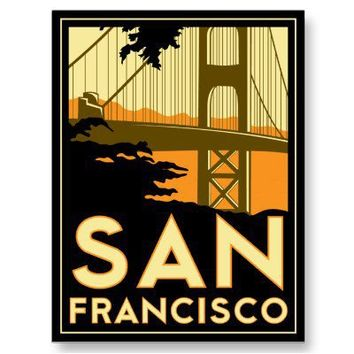 San Francisco Art Deco Travel Poster Post Cards from Zazzle.com