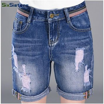 SixSisters Fashion women's denim shorts Ripped mid waist hemming short jeans Rivet Pocket decorate jeans shorts 26-32 HS1663