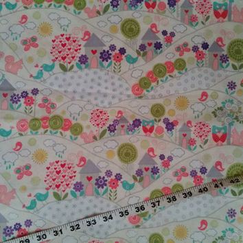 Quilt Fabric home house bird trees rolling hills cotton print quilting sewing material to sew by the yard craft project