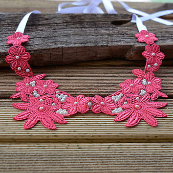 Pink Lace Peter Pan Collar Necklace,  Detachable peter pan collar , Collar Necklace, Christmas gift, for Women