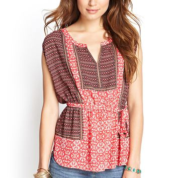 Contemporary Geo Tribal Print Top