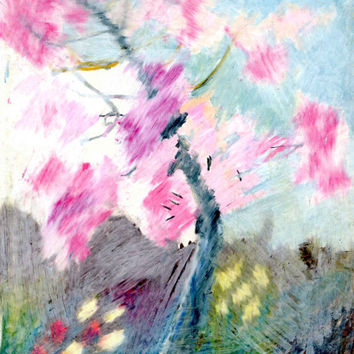 CHERRY BLOSSOM -  Instant Download - Fine Art - Tree Drawing - Oil Pastel Drawing - Contemporary Art - Digital File