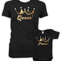Mommy And Son Matching Outfits Mom And Son Matching Shirts Mother Son Gifts For New Mom Mothers Day Queen And Prince Bodysuit DN-608-609